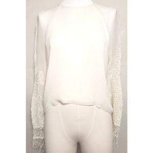 H & M Creamy Embroidered Sleeves Blouse